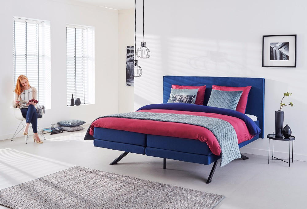 boxspringbett savelli navy swiss sense. Black Bedroom Furniture Sets. Home Design Ideas
