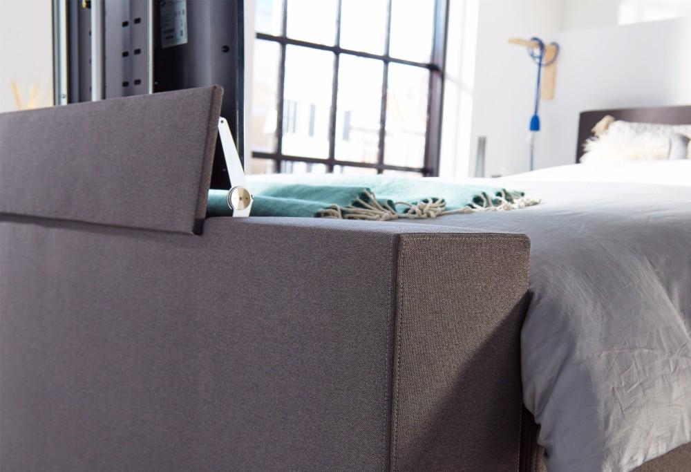 Boxspringbett Grau mit TV lift Home  350 -3