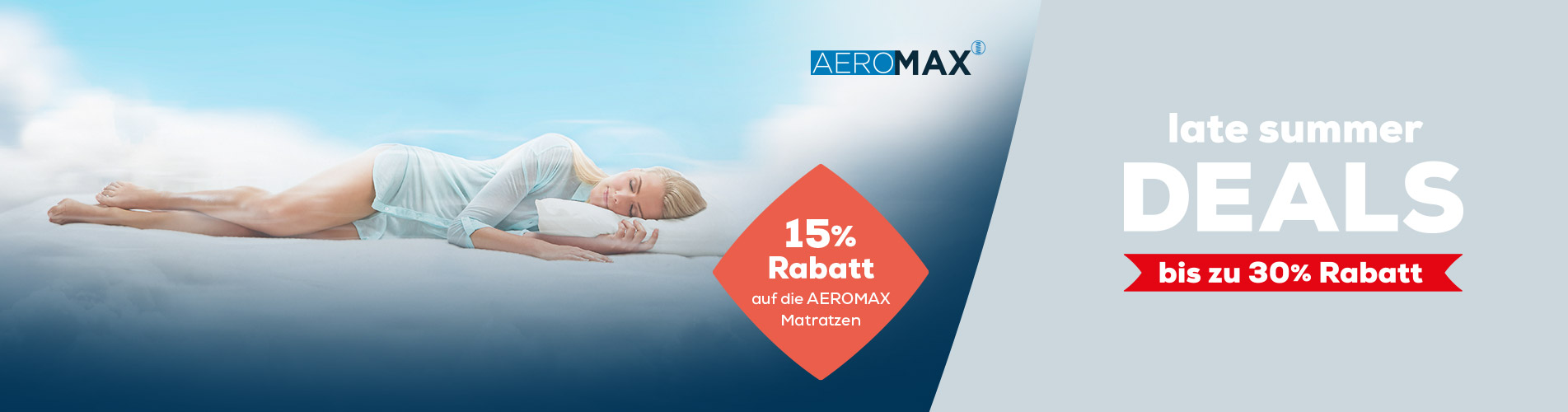 Late Summer Deals AEROMAX Matratzen 15% Rabatt | Swiss Sense