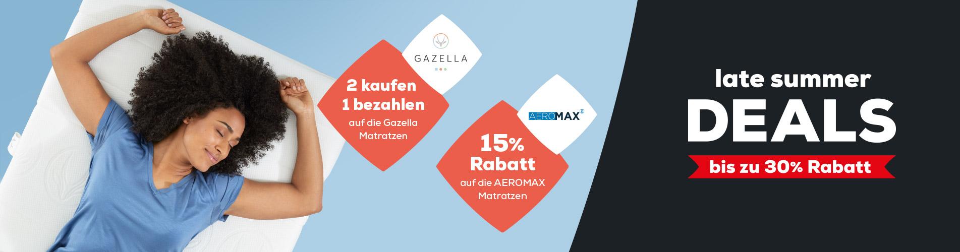 Late Summer Deals 15% Rabatt auf AEROMAX Matratzen - 2 kaufen 1 bezahlen auf die Gazella Matratzen | Swiss Sense