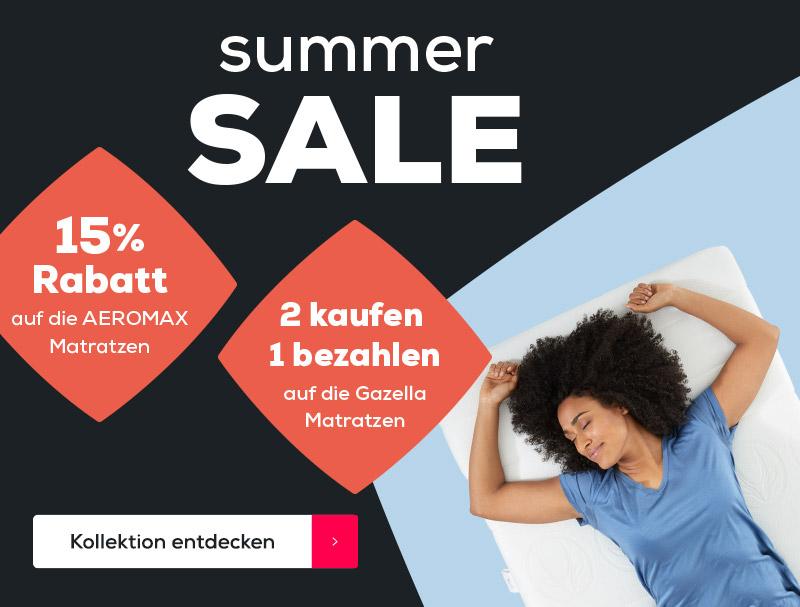Summer Sale - 2 kaufen 1 bezahlen auf die Gazella Matratzen - 15% Rabatt auf die AEROMAX Matratzen | Swiss Sense