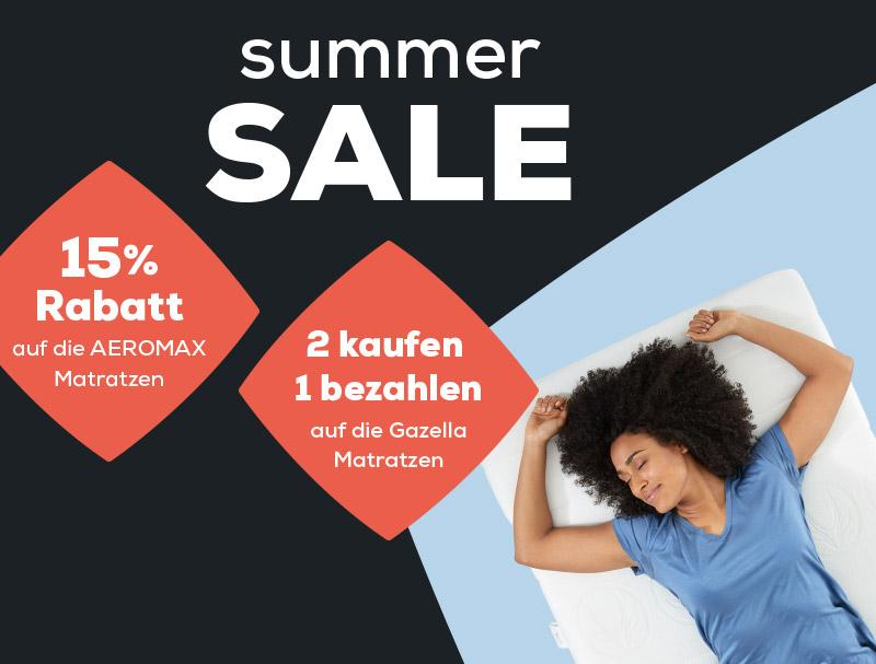 Summer Sale 15% Rabatt auf AEROMAX Matratzen - 2 kaufen 1 bezahlen auf die Gazella Matratzen | Swiss Sense